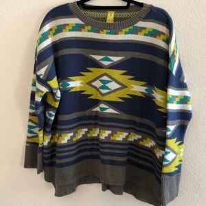 QMack tribal print sweater.